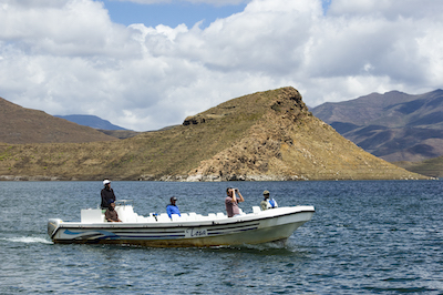 Boating on Mohale Dam, Lesotho